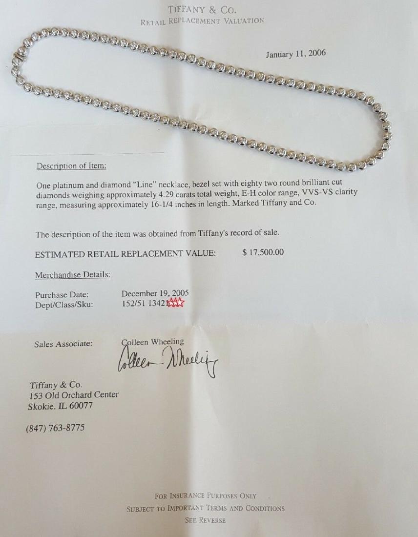 Tiffany & Co Platinum 4.29 ct Diamond Set Line Necklace - 6