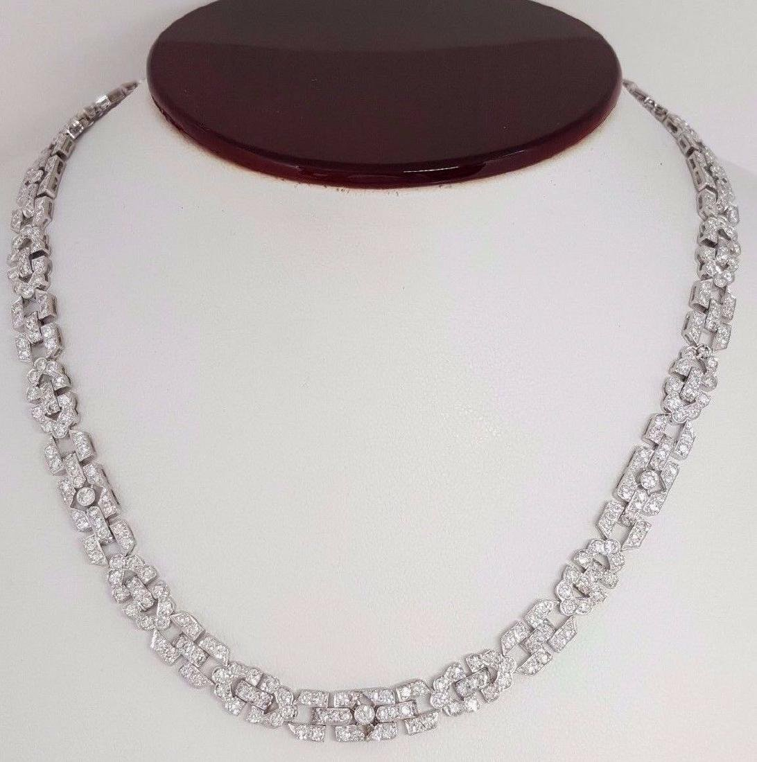 Platinum 12.25ct Brilliant Diamond Prong Set Necklace