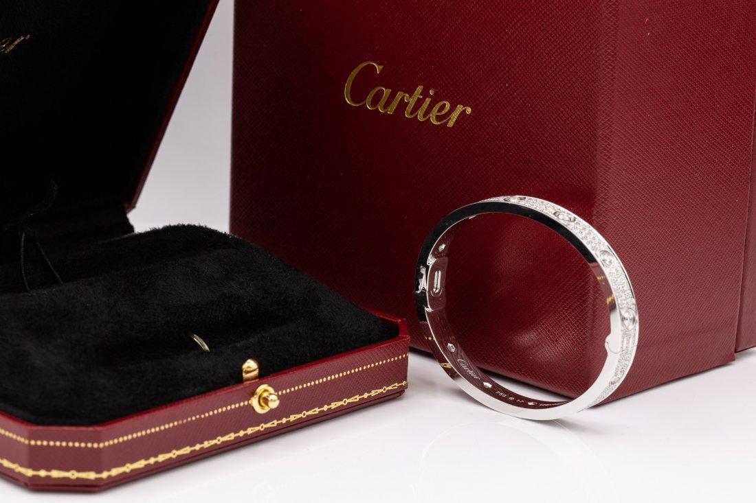 Cartier 18K White Gold  Diamond 3.44tcw Love Bracelet - 2