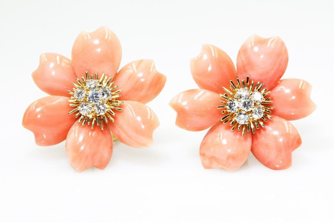 Van Cleef & Arpels Rose De Noel Flower Coral Diamond