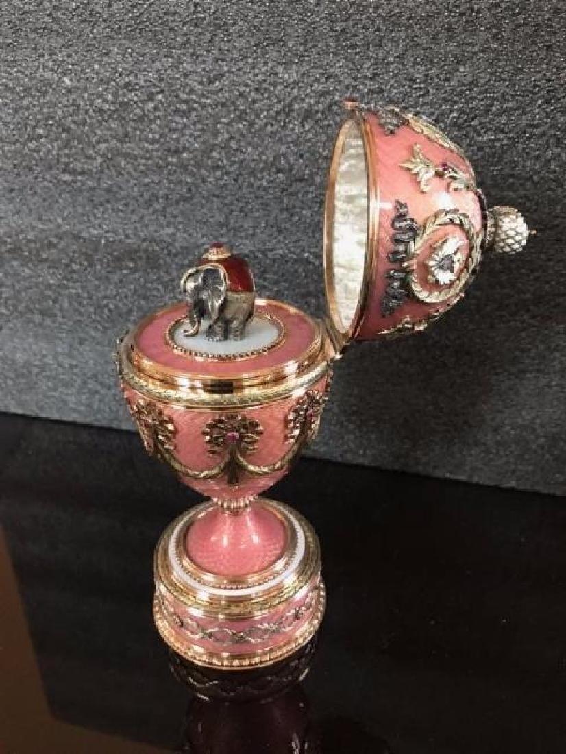 RUSSIAN JEWELED GOLD & DIAMOND GUILLOCHE EGG