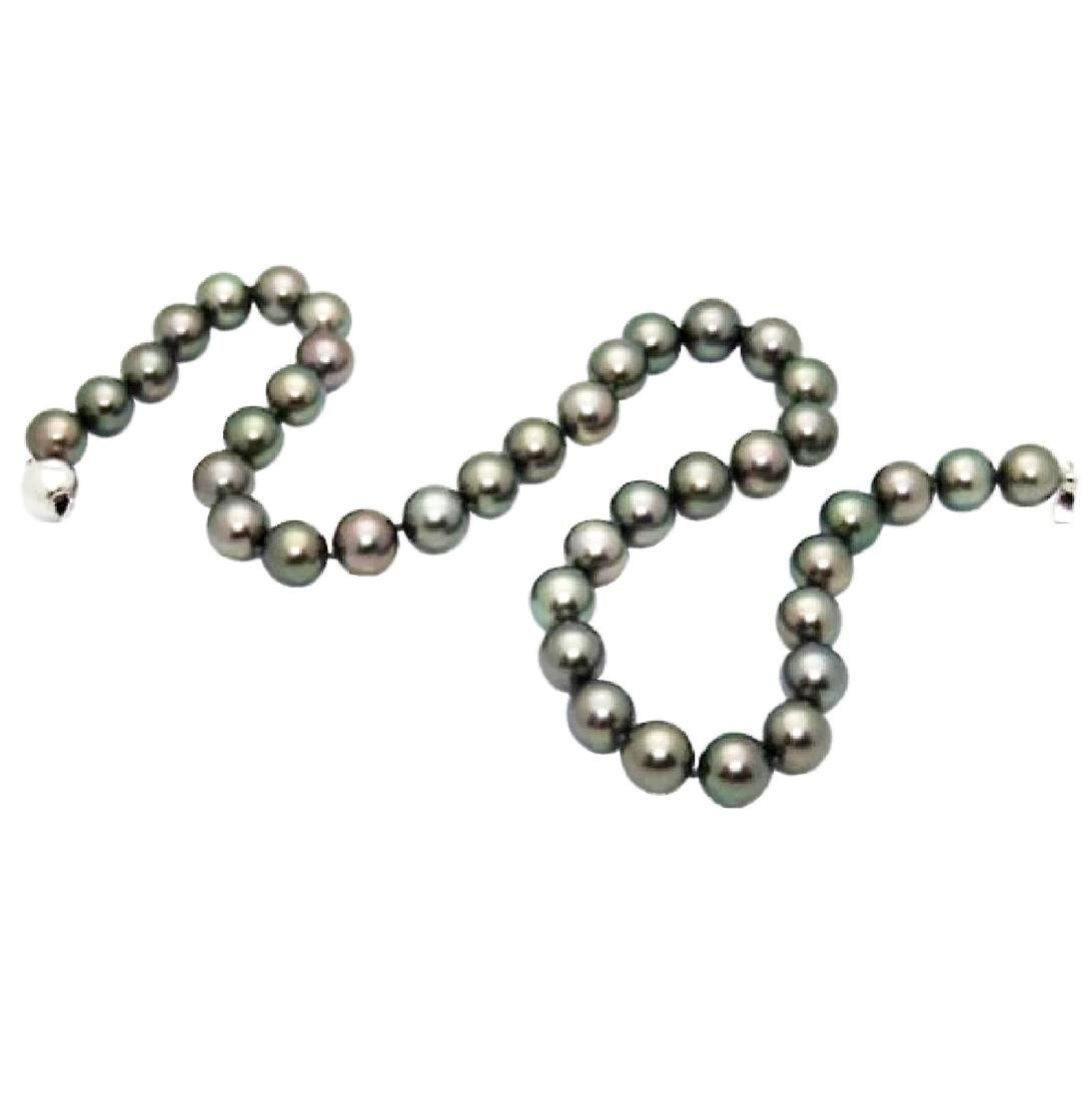 Gorgeous 10.3mm Tahitian Pearls 14K White Gold Strand - 2