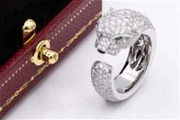 Cartier Panthere 18k 239TCW Diamond Emerald Onyx Ring