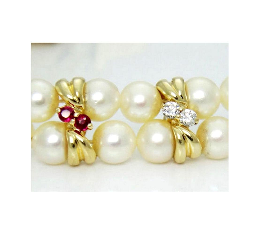 14K Yellow Gold Necklace Pearls Diamonds Ruby Emerald - 2