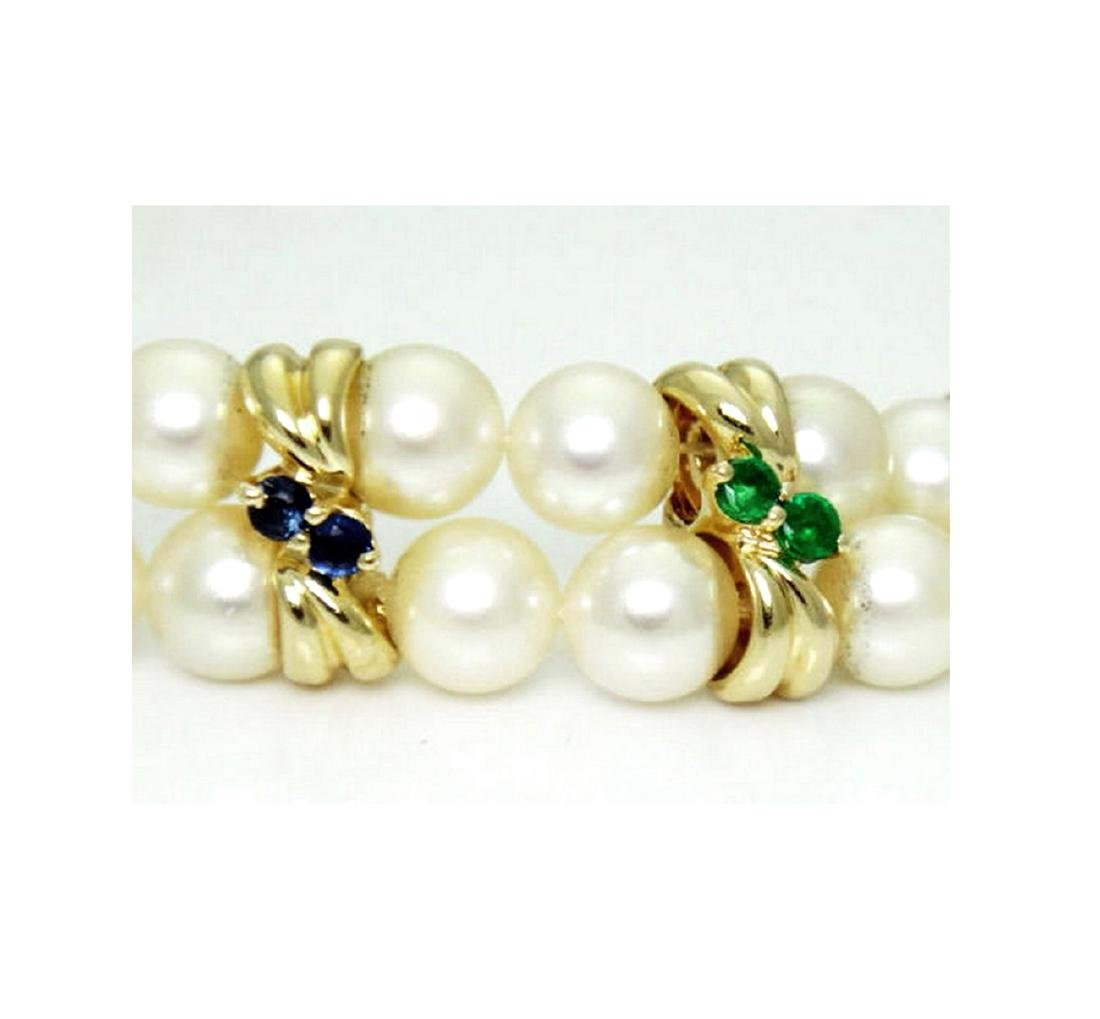 14K Yellow Gold Necklace Pearls Diamonds Ruby Emerald - 3
