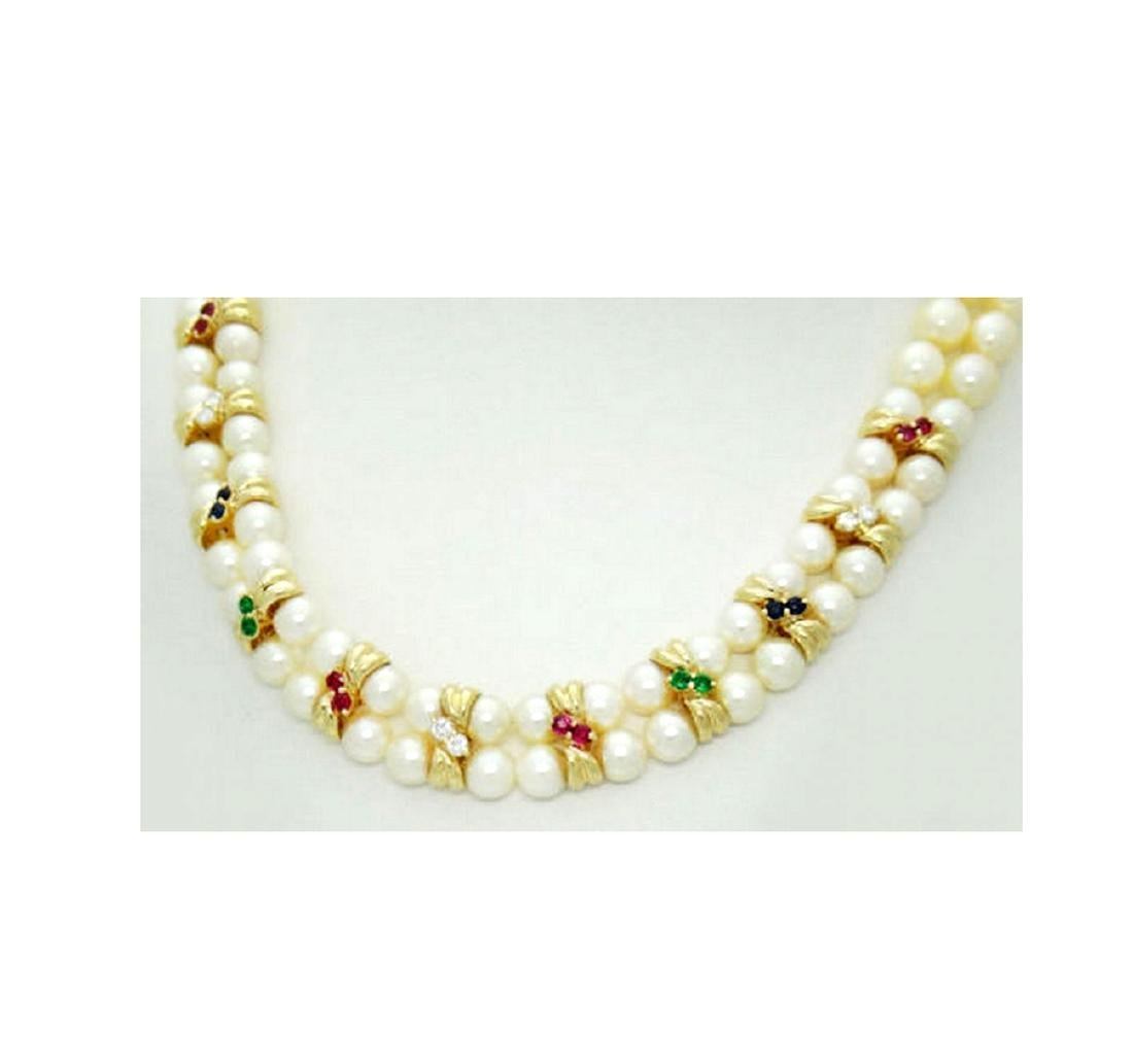 14K Yellow Gold Necklace Pearls Diamonds Ruby Emerald - 7