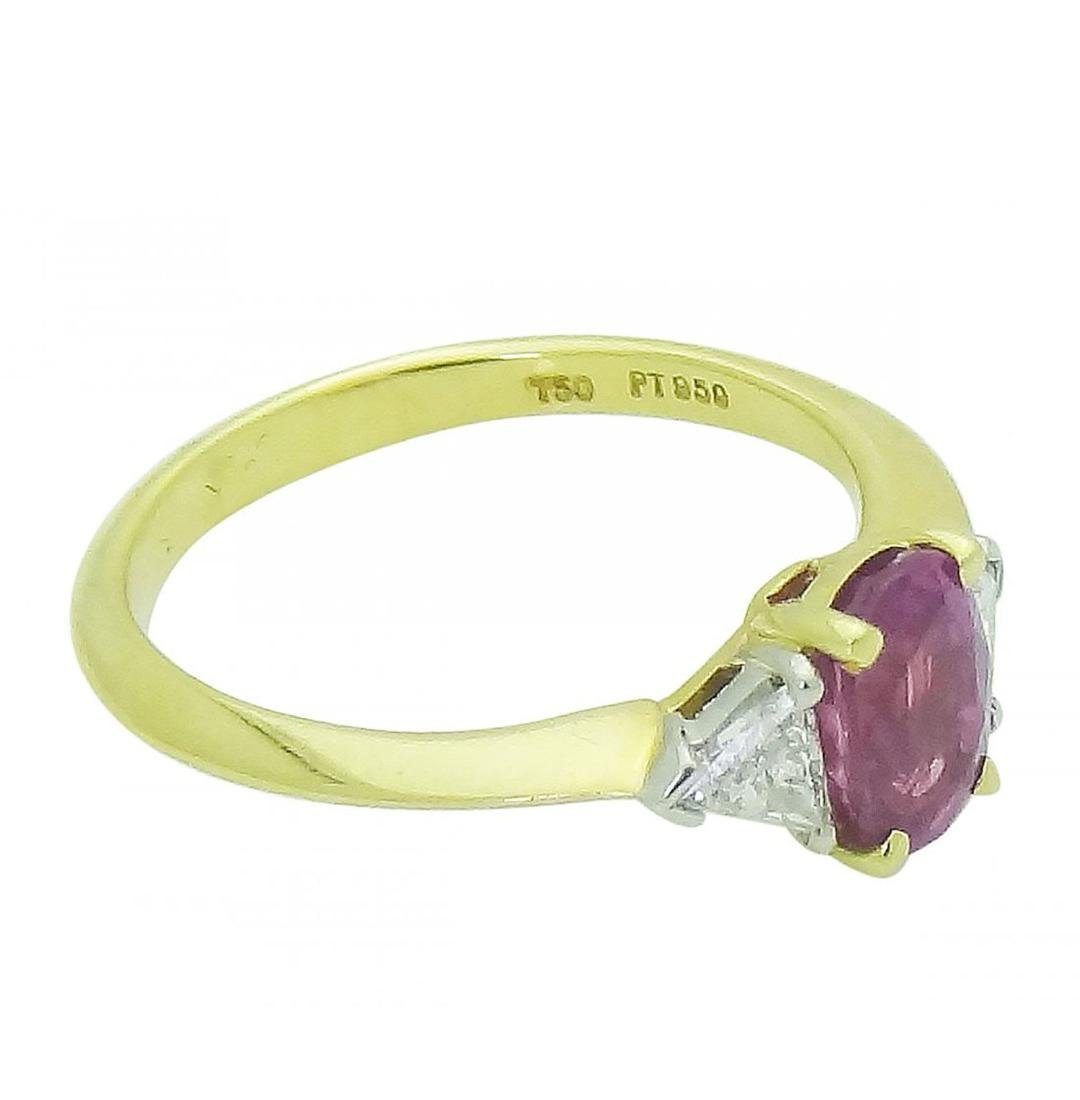Tiffany & Co 18K Gold PT Pink Sapphire Diamond Ring - 2