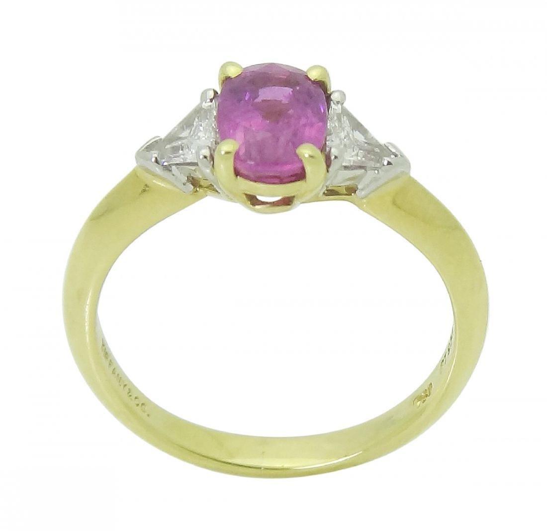 Tiffany & Co 18K Gold PT Pink Sapphire Diamond Ring - 4