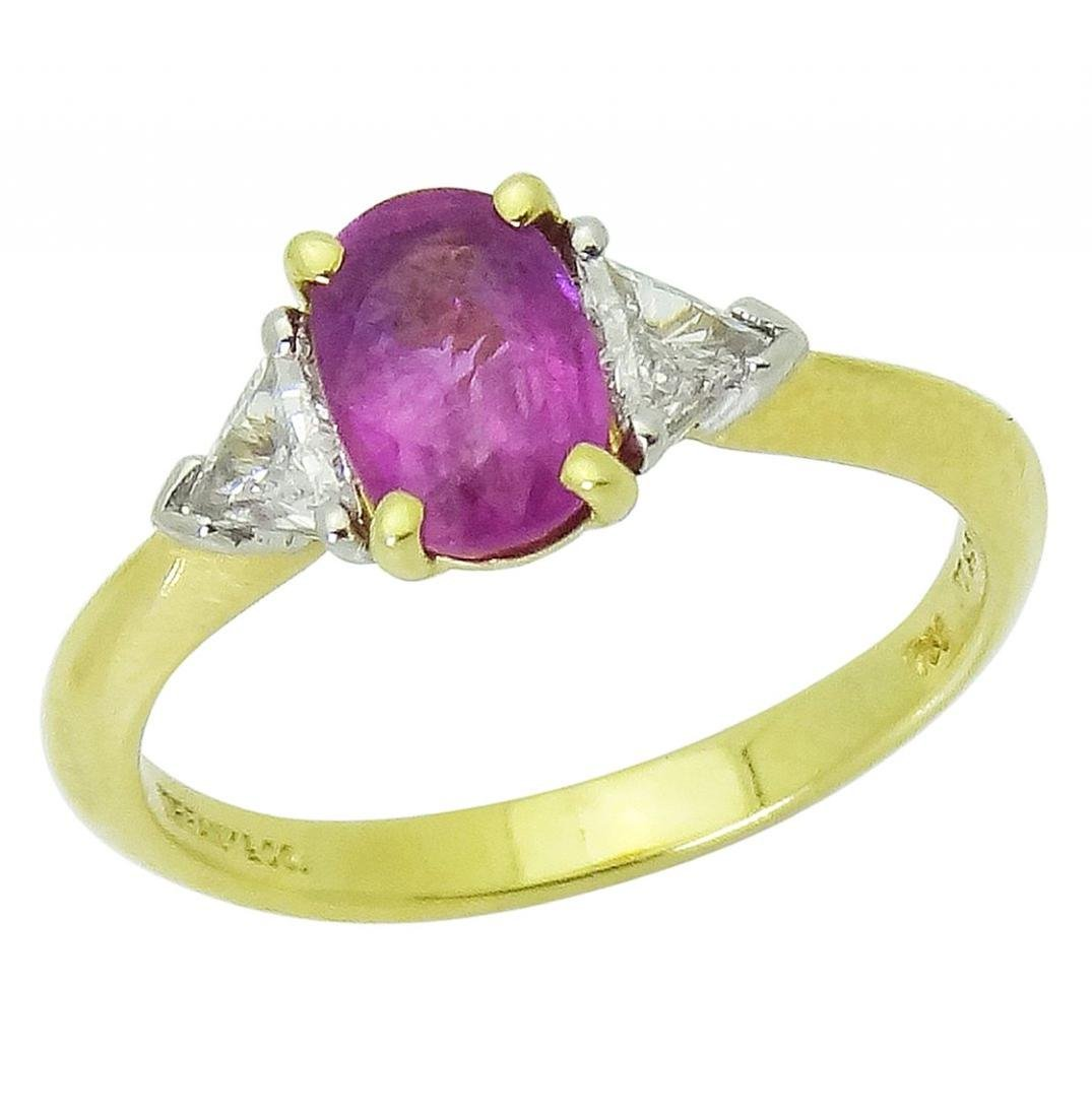 Tiffany & Co 18K Gold PT Pink Sapphire Diamond Ring - 5