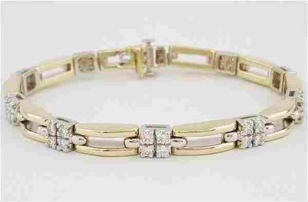 1.6CT Diamond 14K Gold Two Row Bracelet