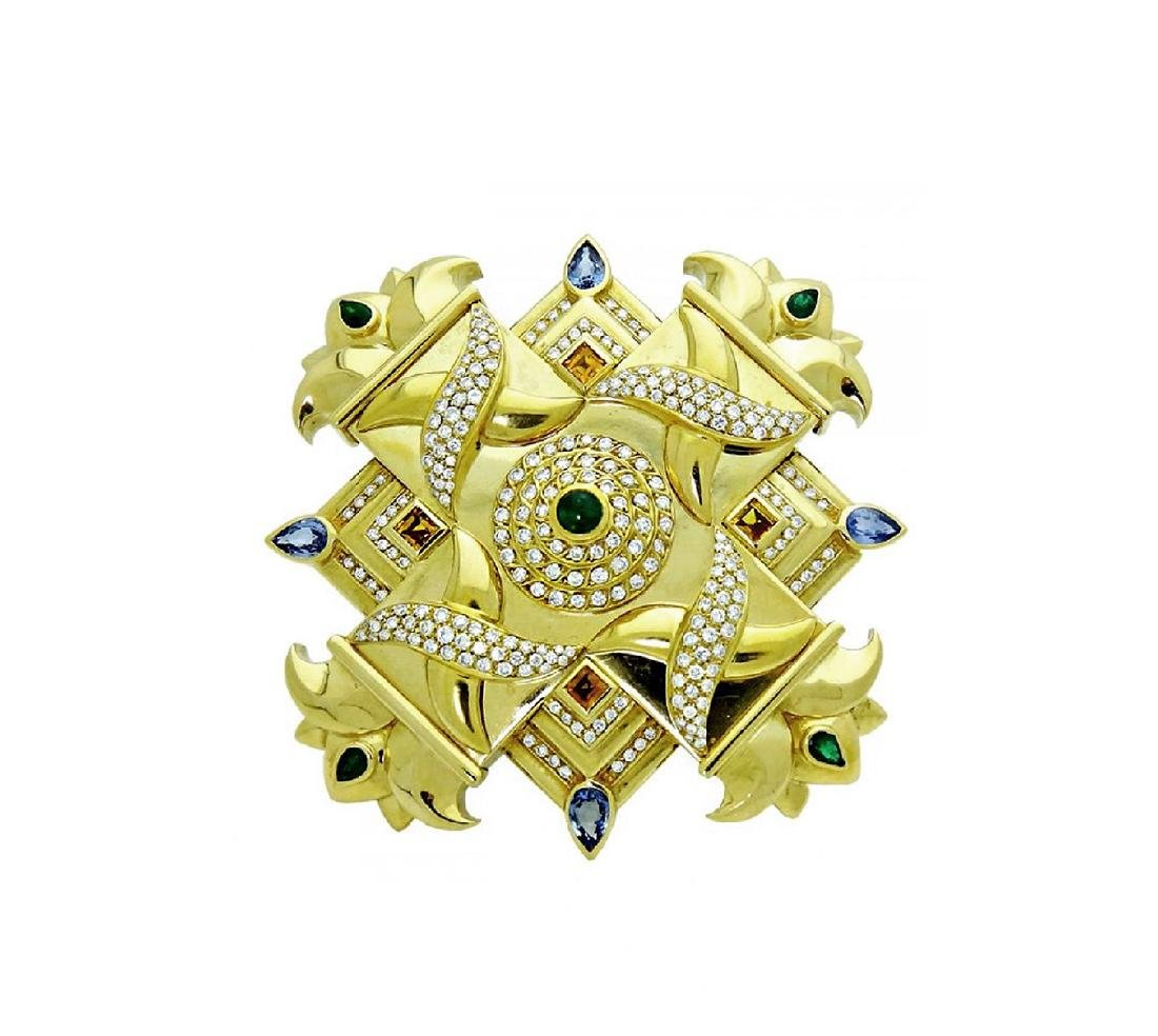 Large 18K Gold Exceptional  Broach/Pendent