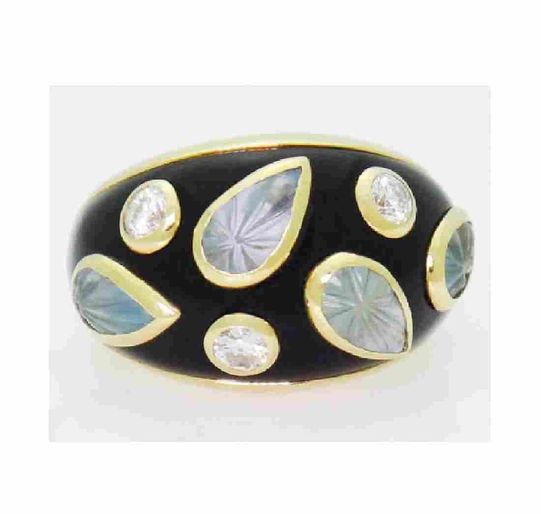 18k Cartier Diamond Aquamarine Enamel Dome Ring