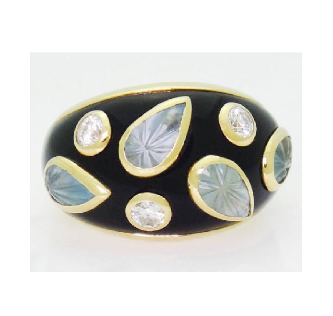 18k Cartier Diamond Aquamarine Enamel Dome Ring