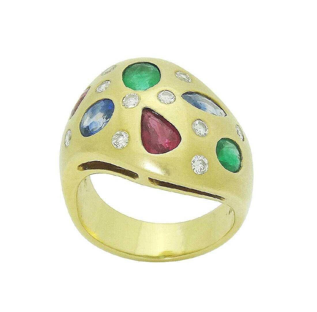 18k Yellow Gold 3TCW Diamond Emerald Ruby Sapphire Ring