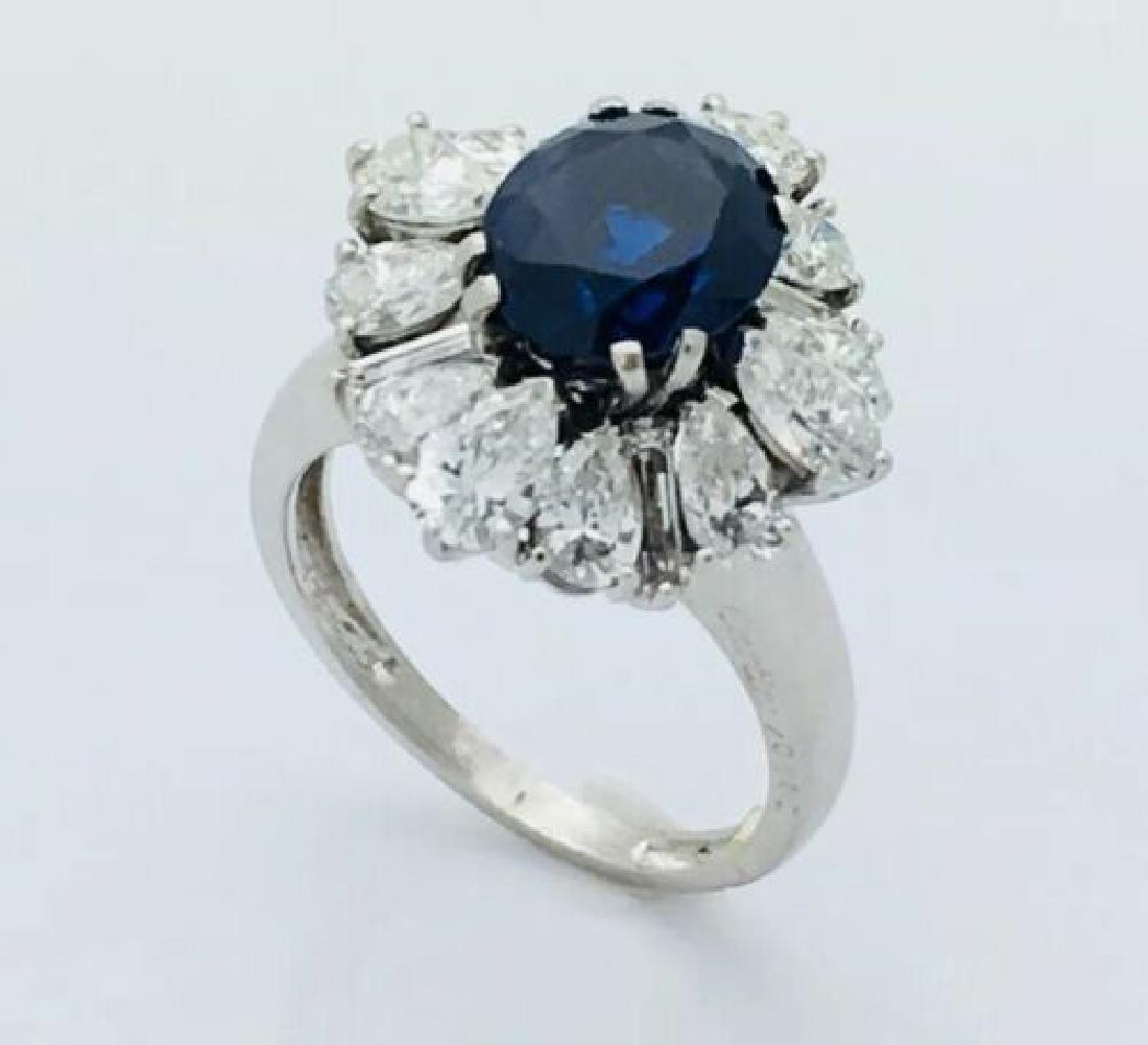 Cartier Platinum 8.5g Diamond & Sapphire Ring Size 5.25