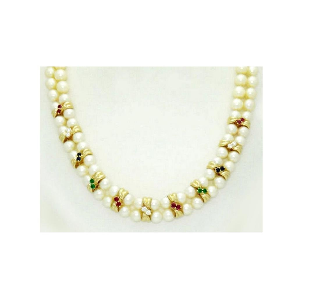 14K Yellow Gold Necklace Pearls Diamonds Ruby Emerald