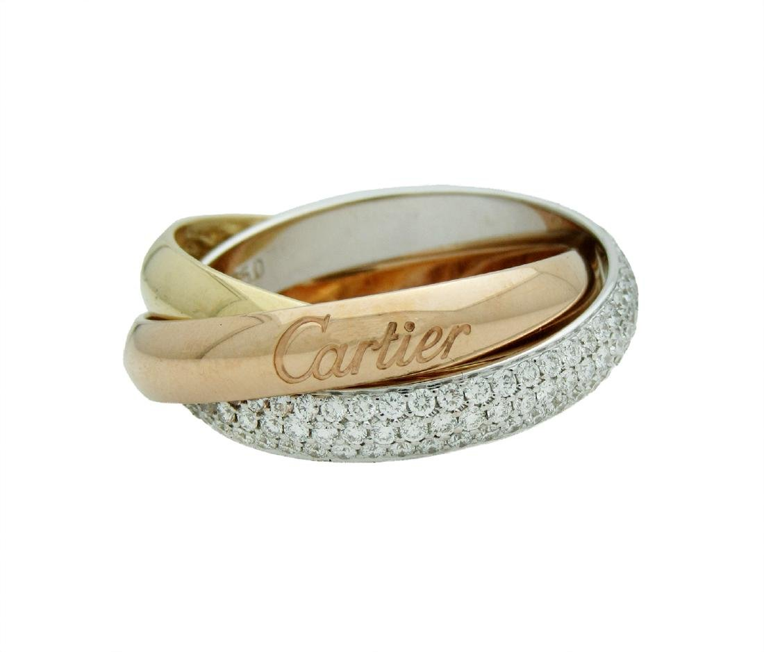 CARTIER TRINITY DIAMOND  RING WHITE PINK GOLD