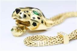 Panthere de Cartier 18K Diamond Tsavorite Garnet Onyx
