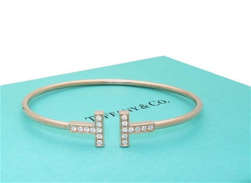 Tiffany And Co 18k Rose Gold T Diamond Wire Bracelet Sz Sep 17 2019 Allure Antique Auction Company In Fl