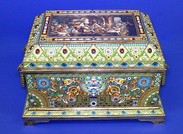 Huge Russian Silver, Enamel Miniature Painting Box