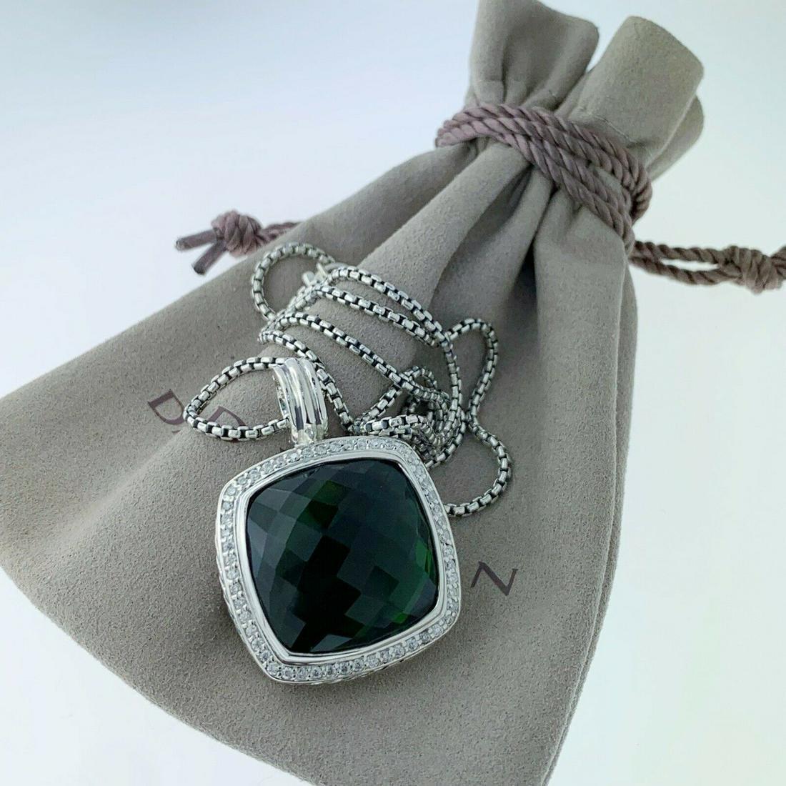 David Yurman Albion 20mm Prasiolite Diamond Necklace