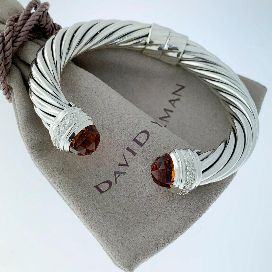 David Yurman Citrine and Diamond 10mm Cable Bracelet