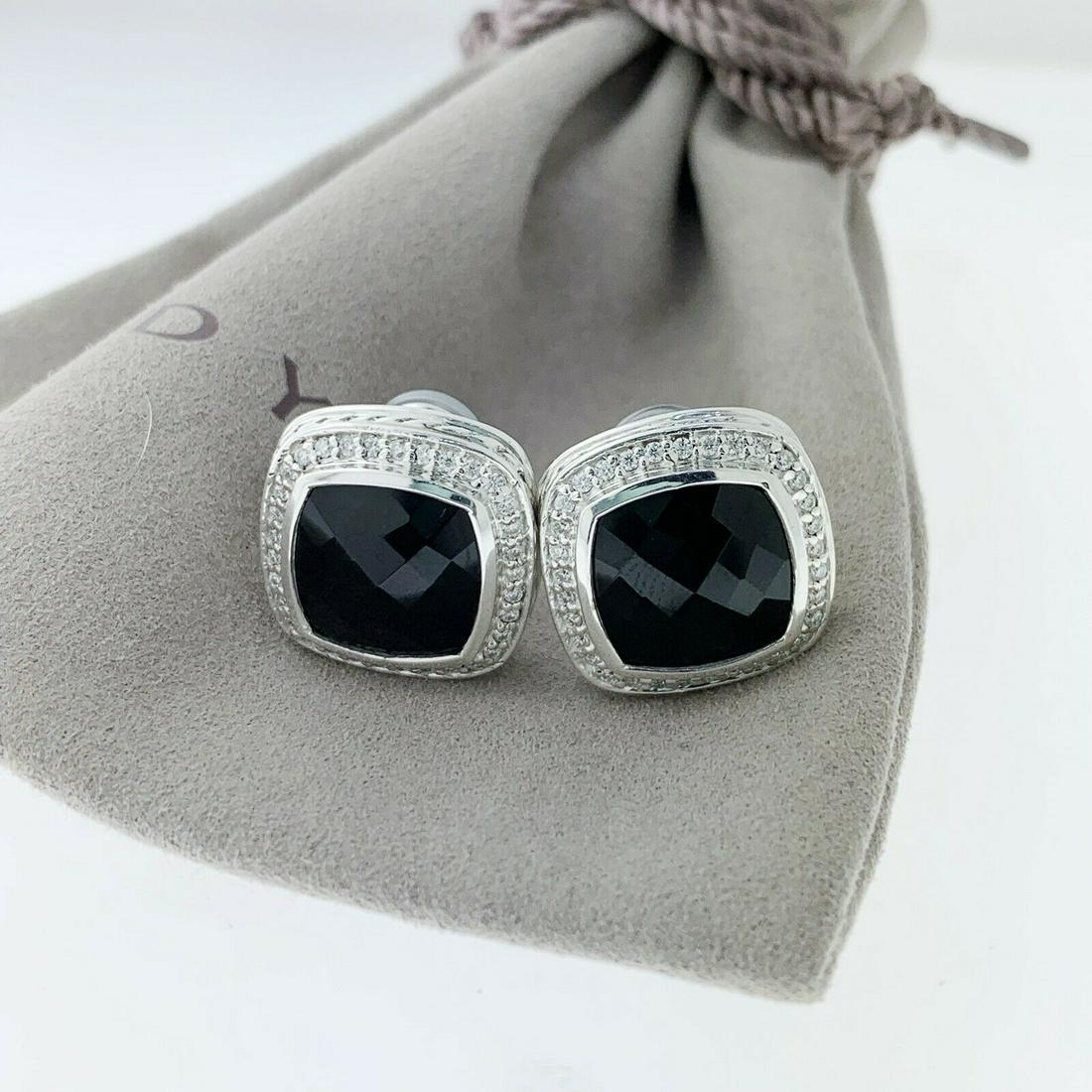 David Yurman Albion 11mm Black Onyx Diamond Earrings