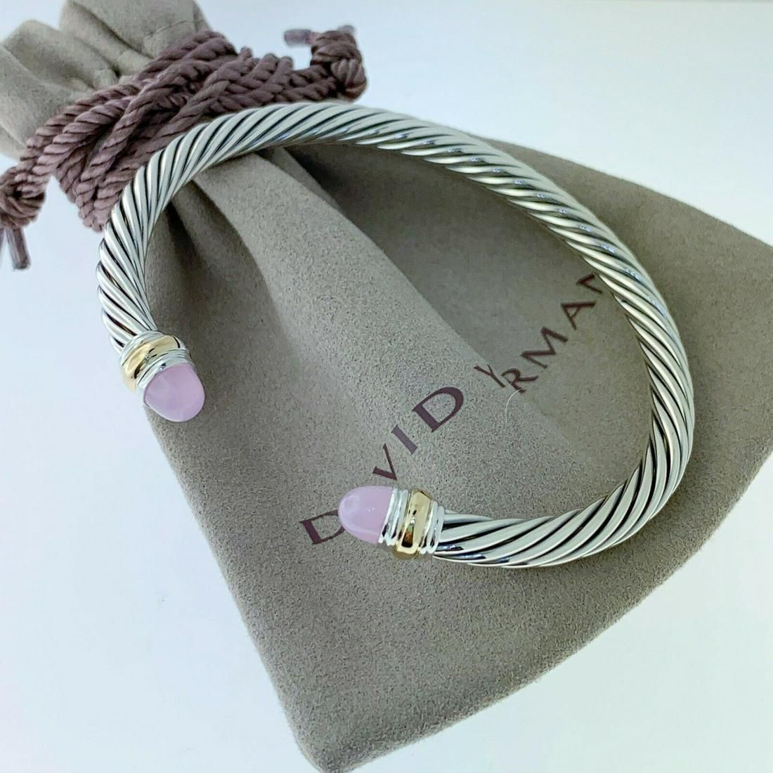 David Yurman 14k Gold Rose Quartz 5mm Bracelet