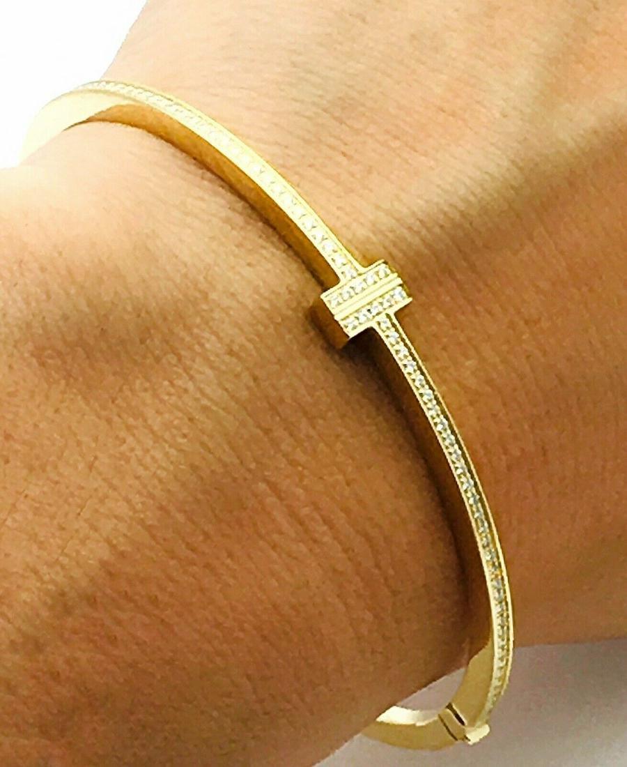 "Tiffany & Co.  18k Gold T Diamond Bracelet  6.5"""