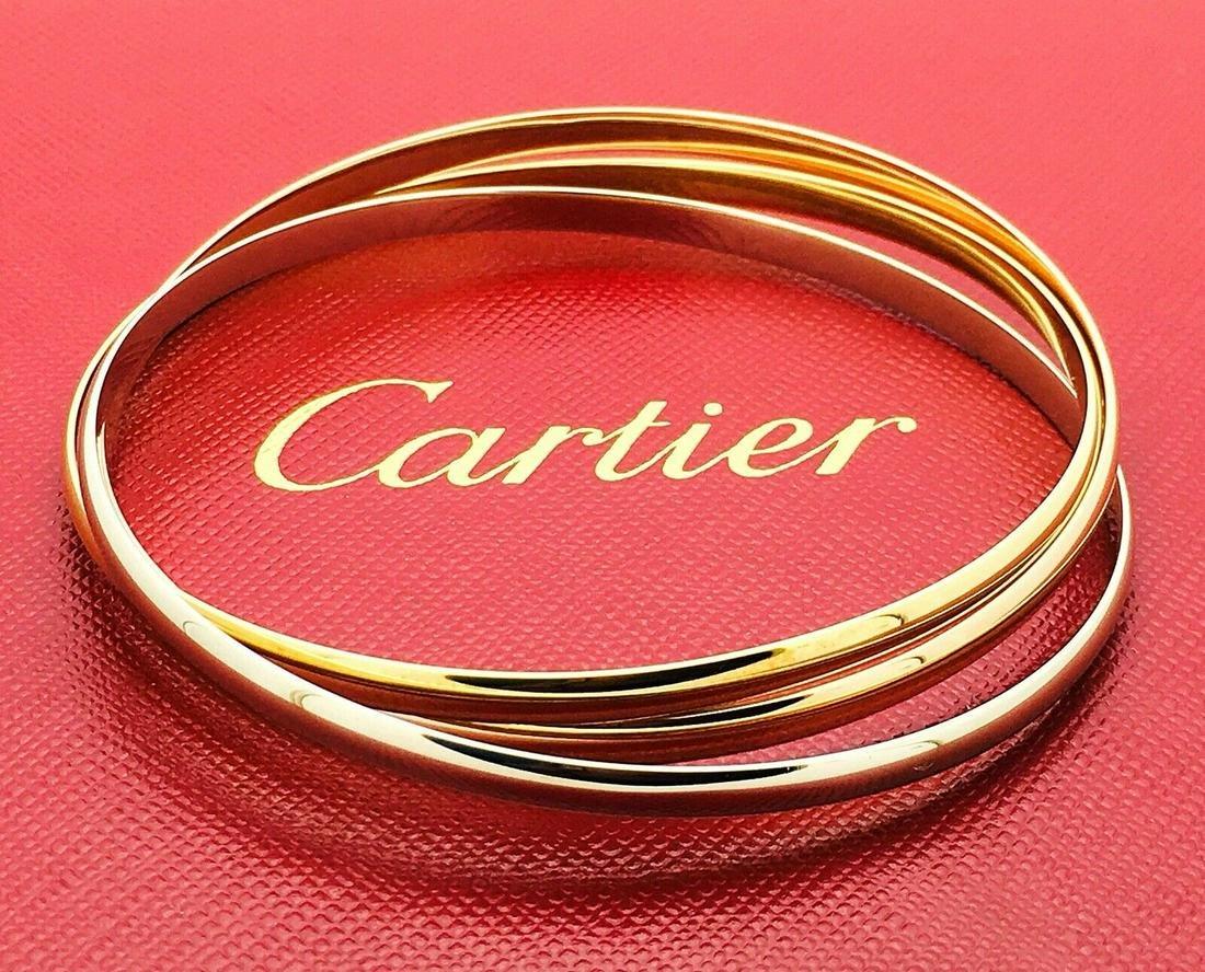 """Cartier 18k Trinity 7.75"""" Fit Bangle Bracelet"""