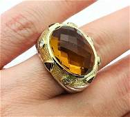 David Yurman 18k Gold Citrine Diamond Garnet Ring Sz