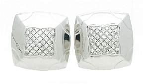Bvlgari  18k White Gold  Diamond  25mm Earrings