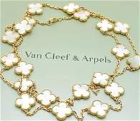 VAN CLEEF & ARPELS 18K ALHAMBRA MOP 20 MOTIF NECKLACE