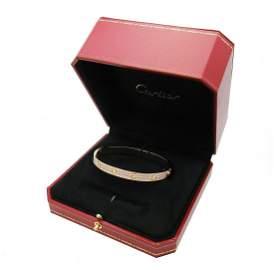 Cartier PAVED DIAMOND 18K PINK BRACELET SZ 20