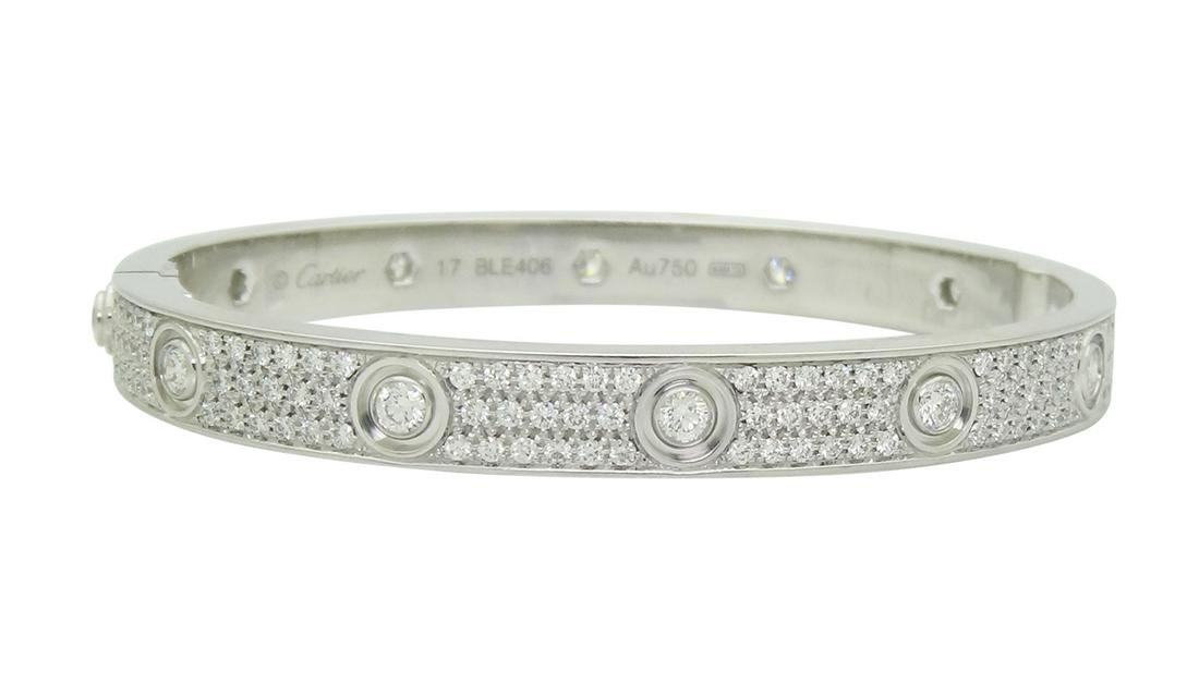 Cartier 18K Gold Love 3.16tcw Diamond Paved Bracelet