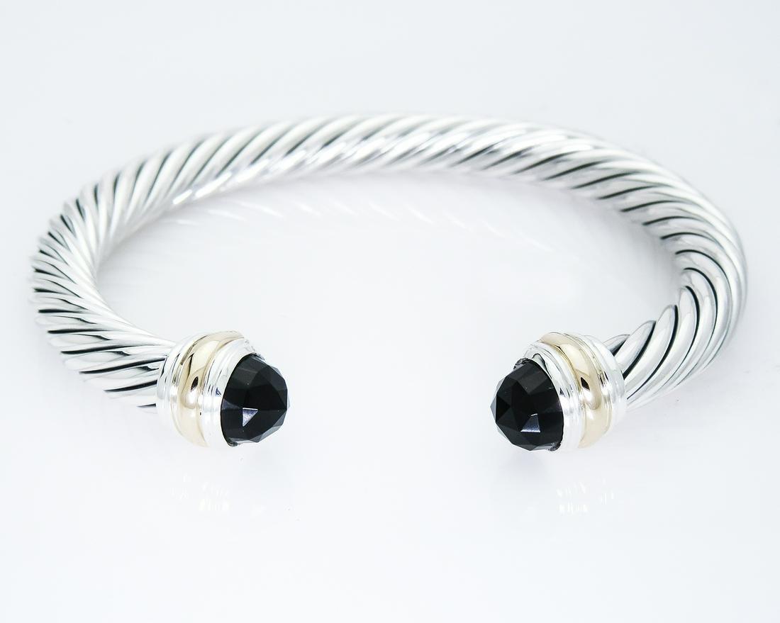 David Yurman 7mm Silver 14k Onyx Cuff Bracelet