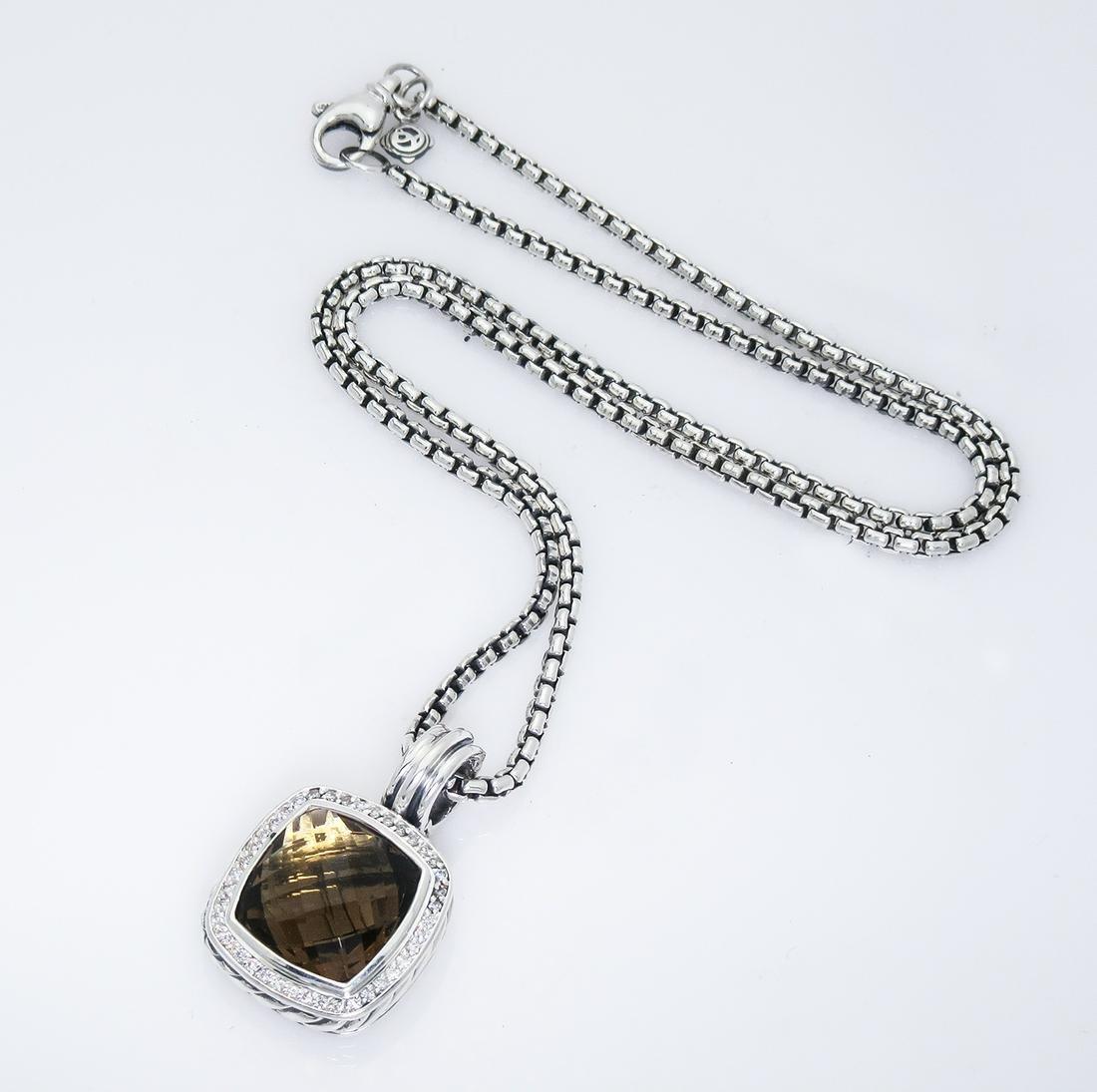 David Yurman Albion Pendant Topaz Diamond 14mm Necklace