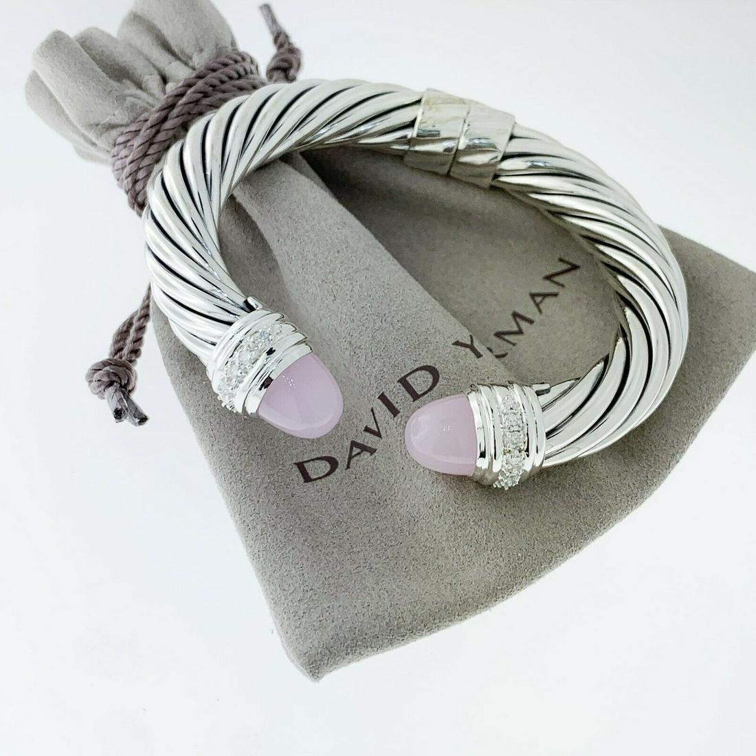 David Yurman Rose Quartz and Diamond 10mm Bracelet