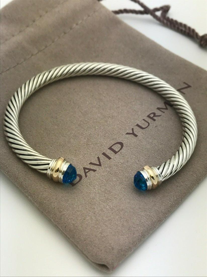 David Yurman 14k Gold Blue Topaz 5mm Bracelet