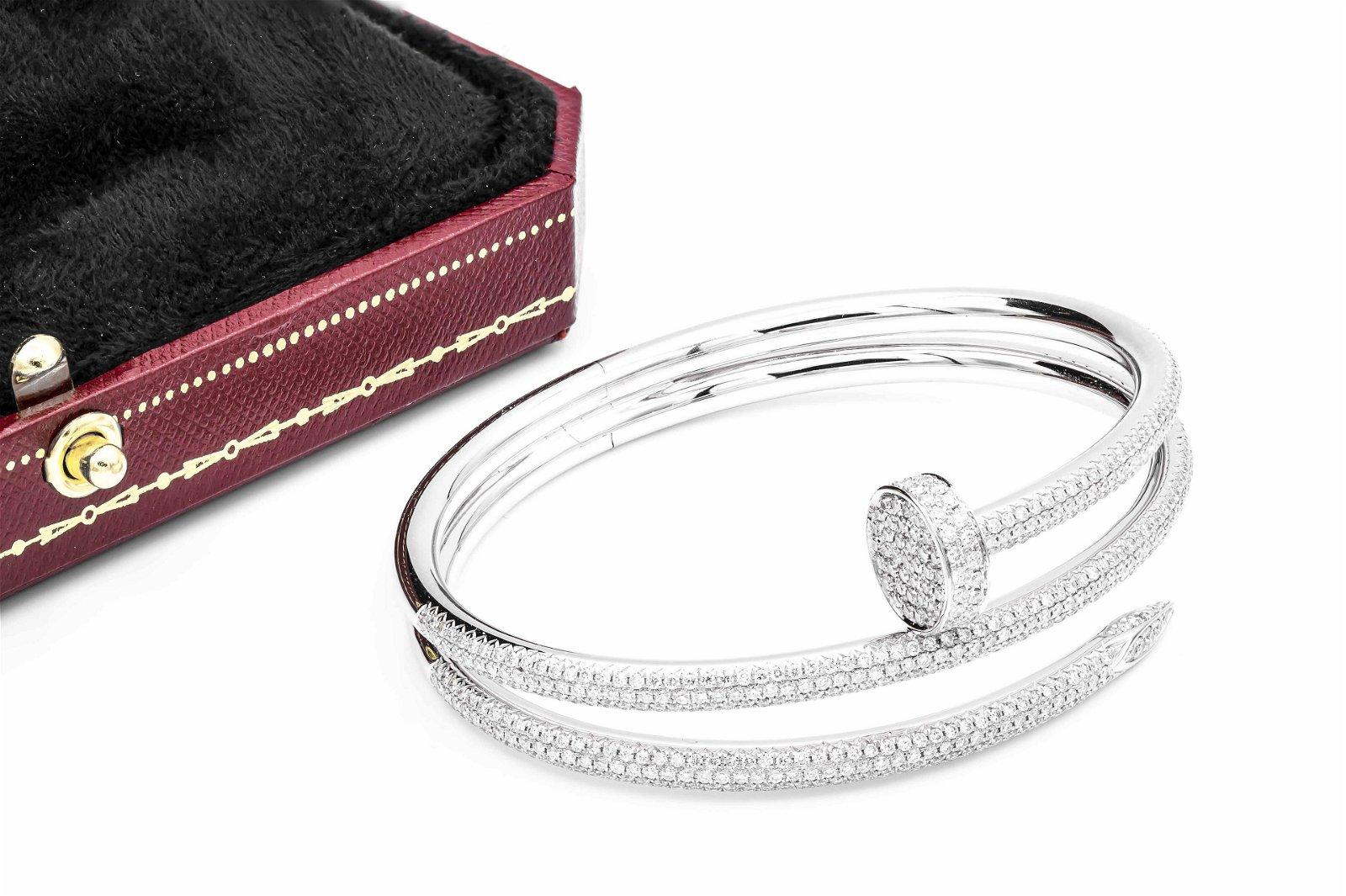 Cartier Double Diamond 18K Nail Bracelet