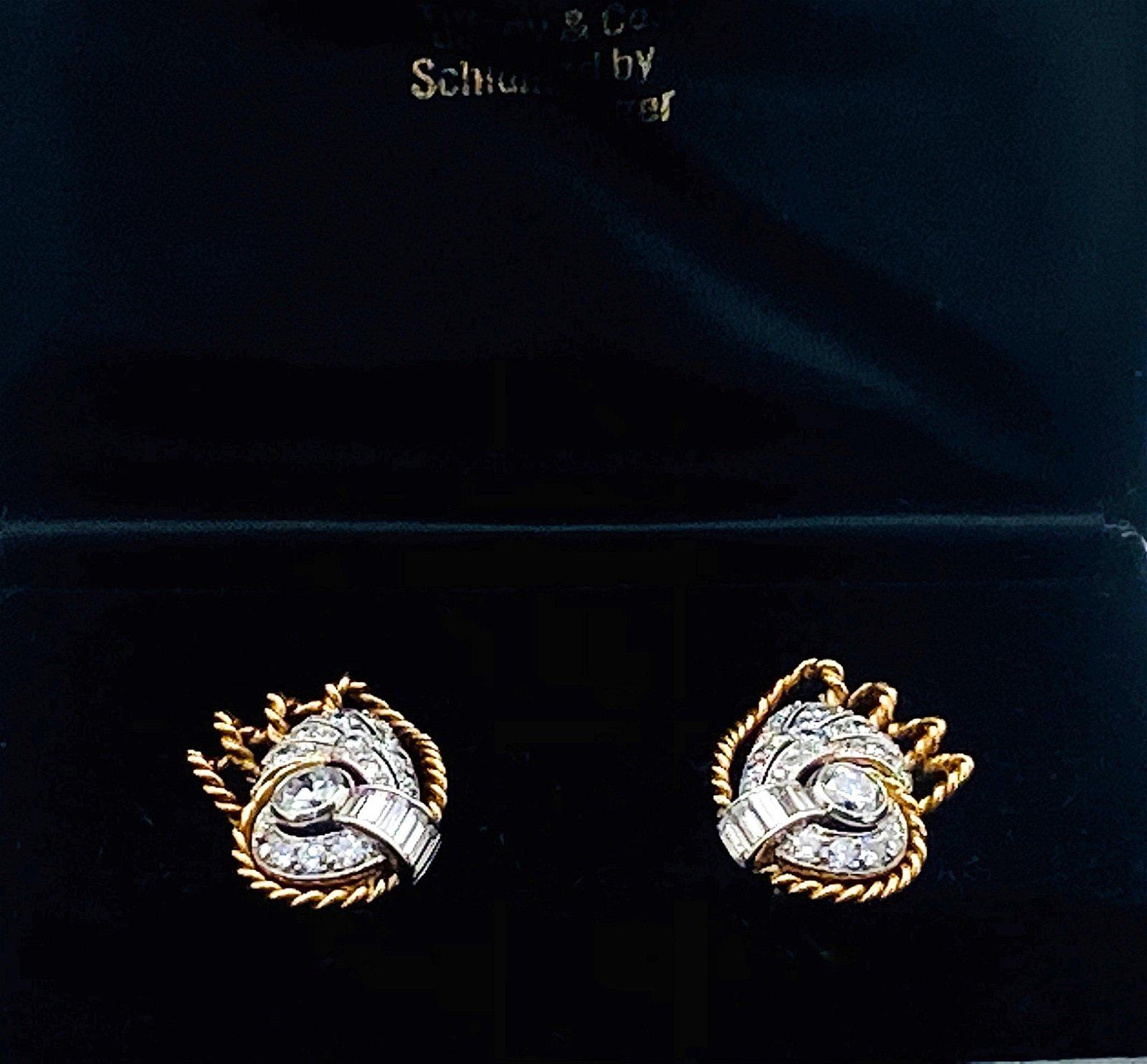 TIFFANY & CO 18K YELLOW GOLD PLATINUM EARRINGS