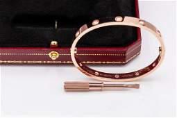 Cartier 18k Rose Gold LOVE BRACELET 10 DIAMOND Sz17