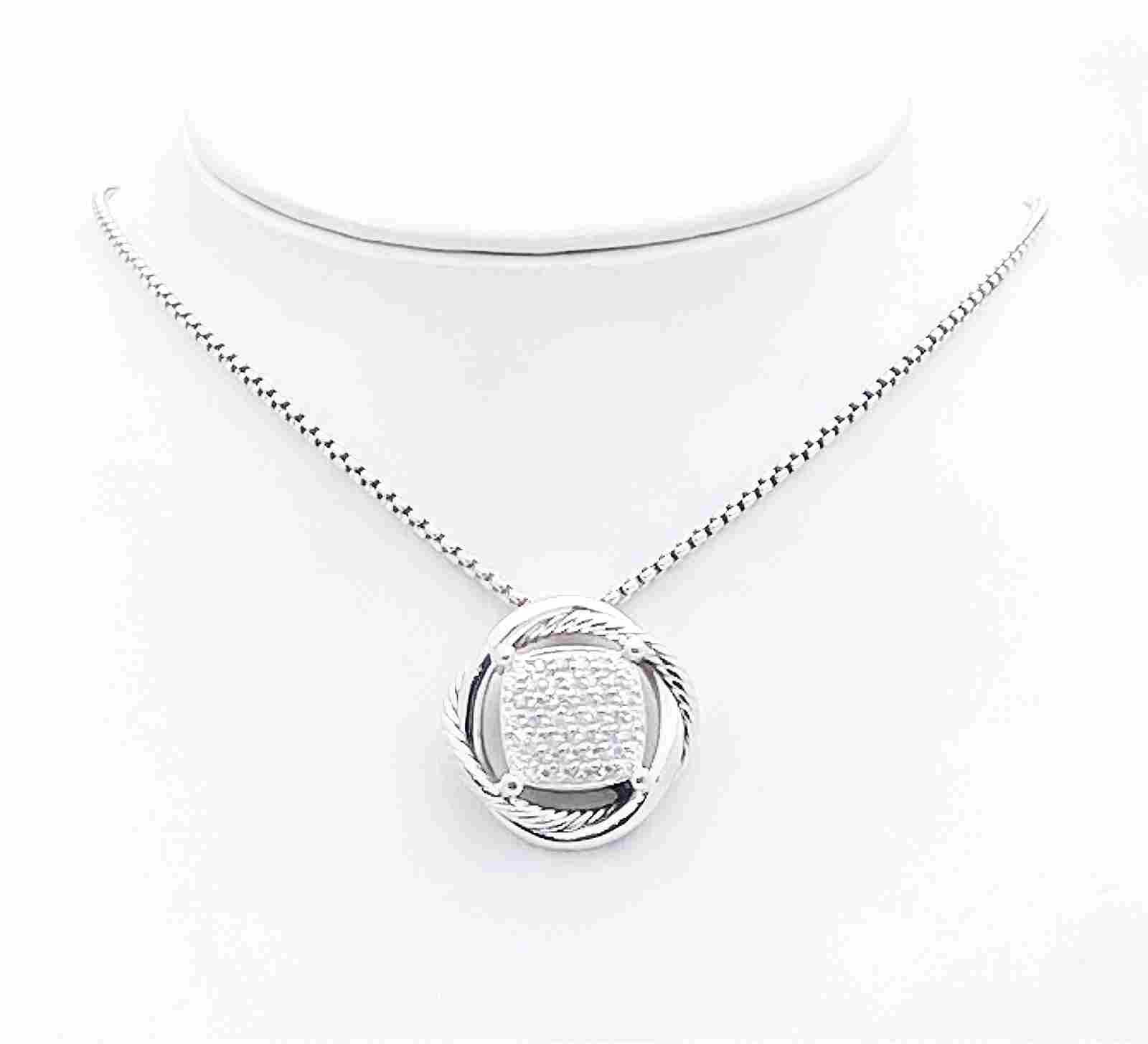 DAVID YURMAN  DIAMOND 925 INFINITY PENDANT NECKLACE