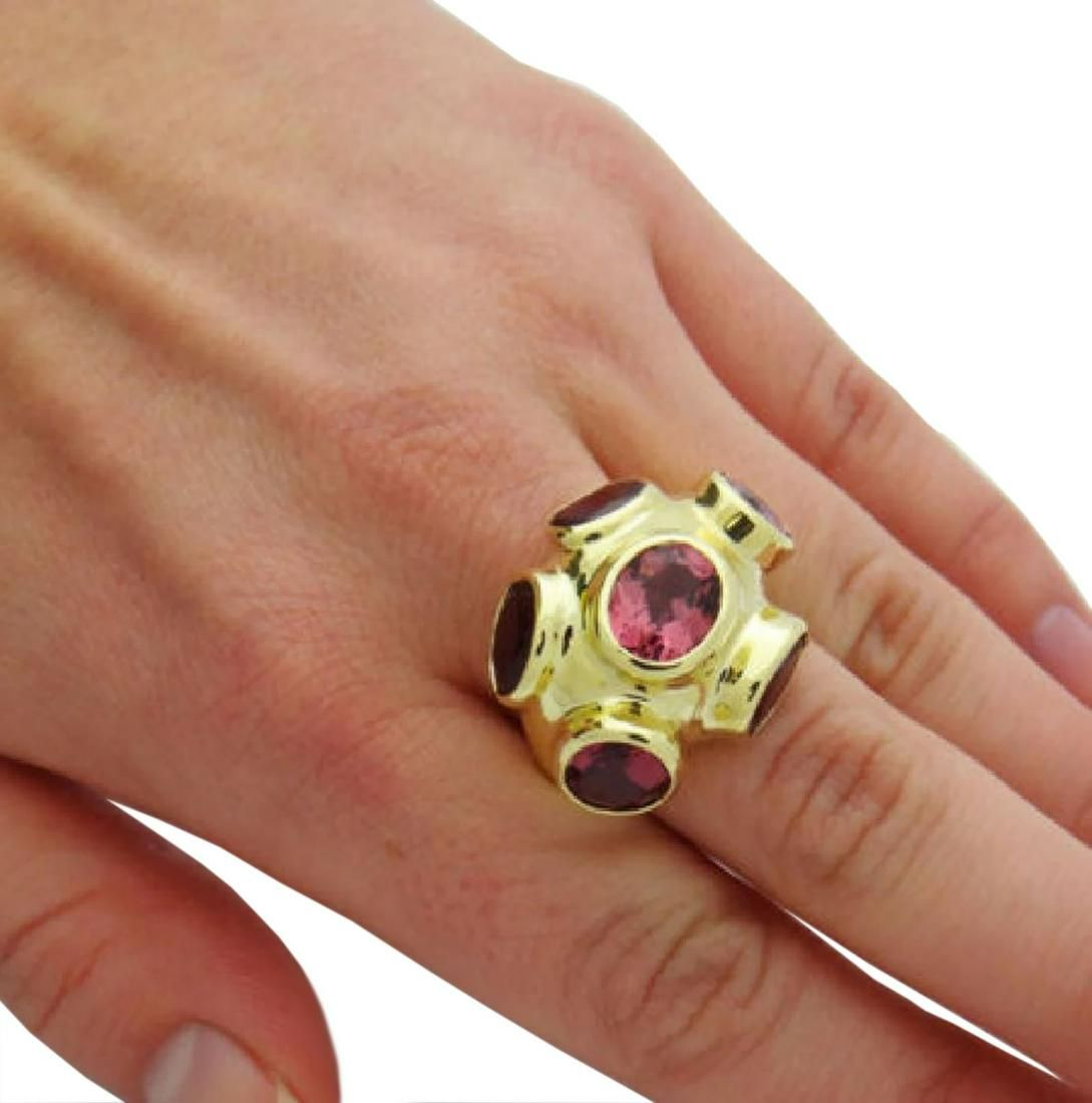 Ippolita Solid 18k Gold Six Bezel Set Tourmaline Ring