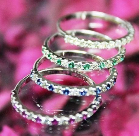 Set of 4 Diamond, Blue Sapphire, Emerald and Ruby Rings