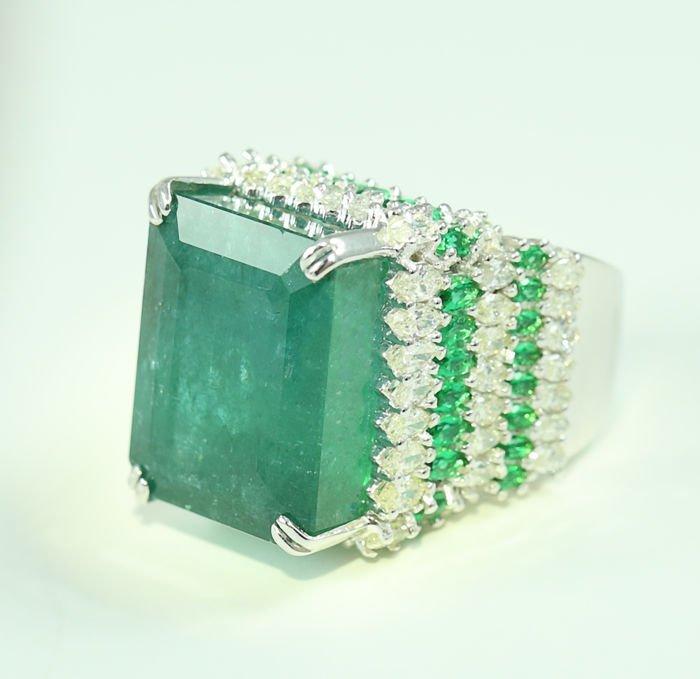 Designer Large Emerald and Diamond Ring