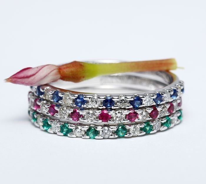 Set of 3 Rings Diamond, Blue Sapphire,Ruby and Emerald