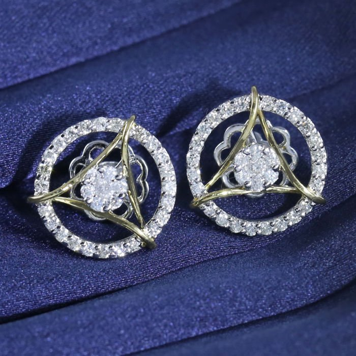14 K White and Yellow Gold Diamond Earrings