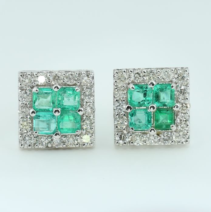 IGI White Gold Diamond and Colombian Emerald Earrings