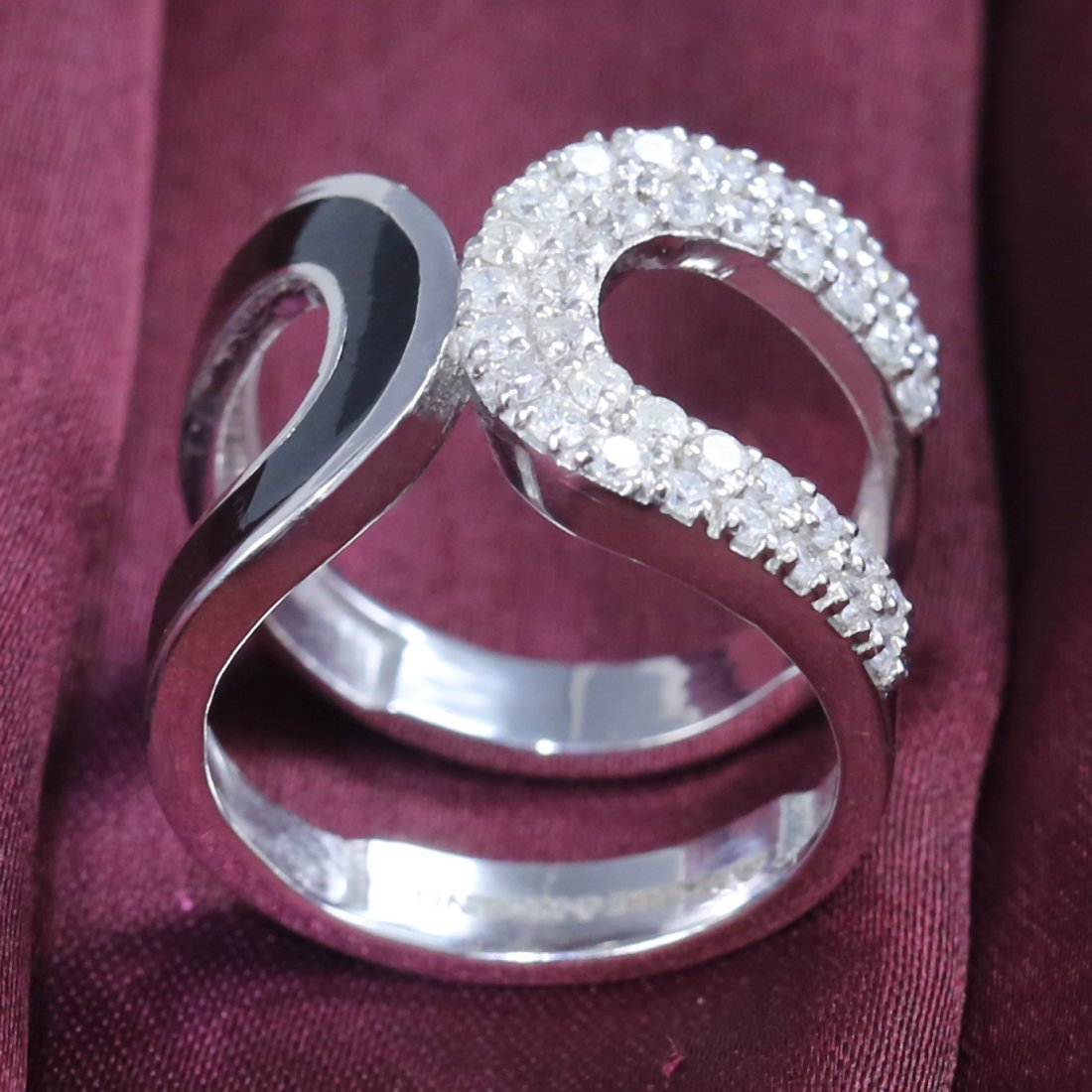 14 K White Gold Diamond Ring with Black enamel work